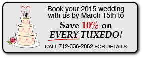 Book by March 10th to Save 10% on EVERY TUXEDO with Evans